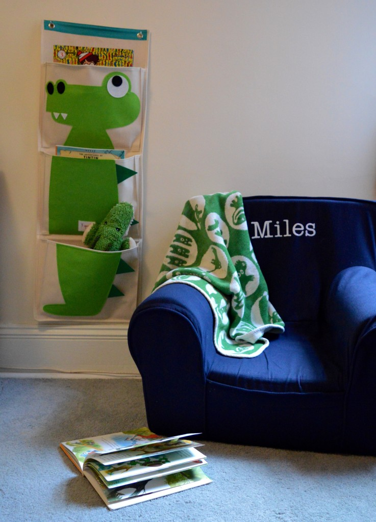 Boy nursery cream blue green crocodile M