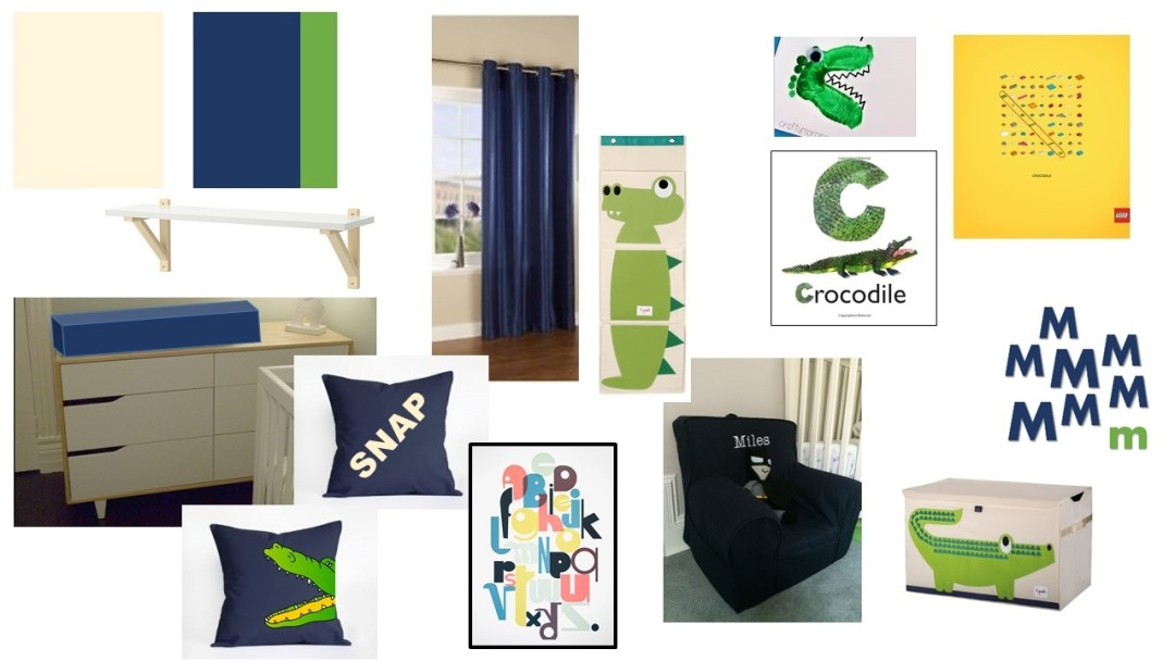 boy nursery styleboard blue green cream crocodile