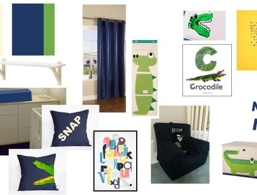 boy nursery styleboard blue green cream crocodile