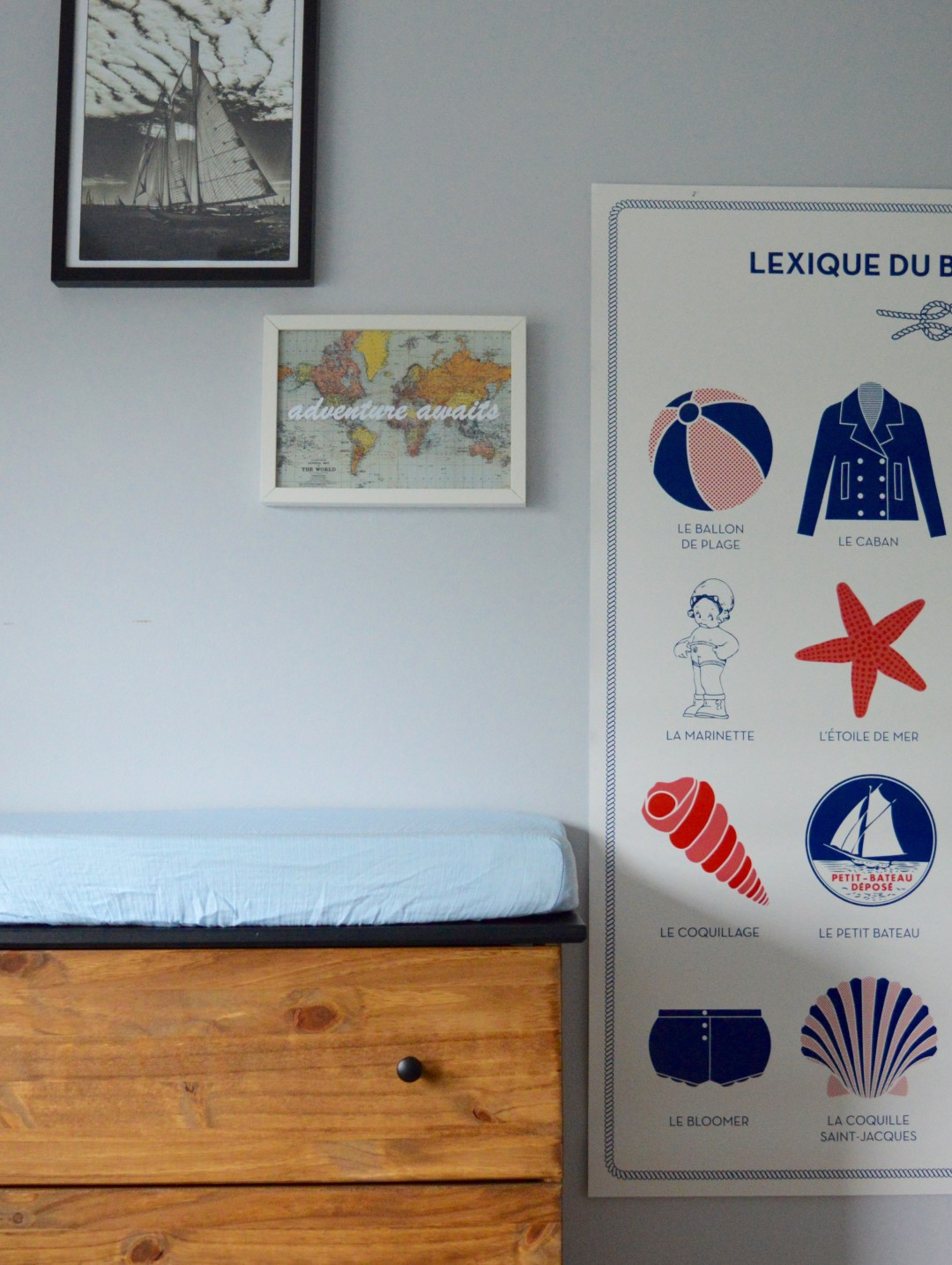 boy nautical nursery detail