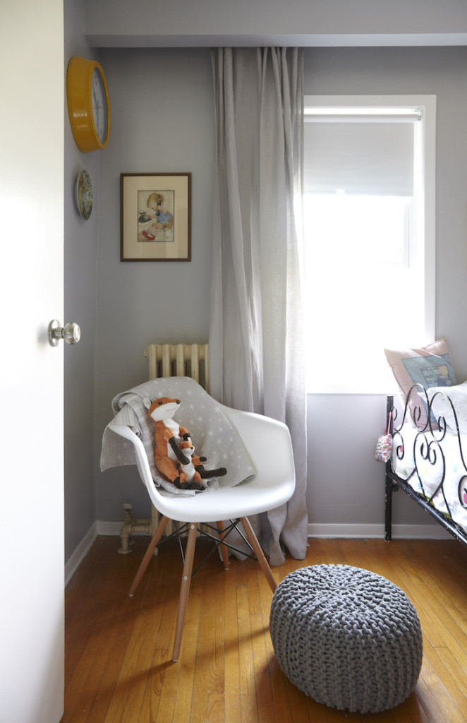 Girls shared woodland bedroom eames chair