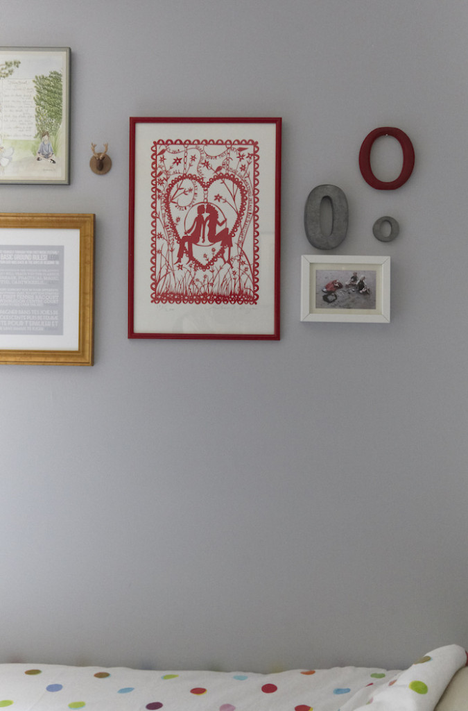 Girls shared woodland bedroom Rob Ryan print