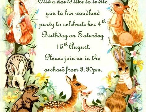 the happy forest woodland Birthday invitation