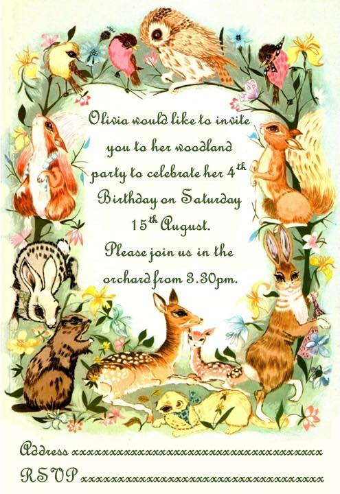 the happy forest woodland Birthday invitation