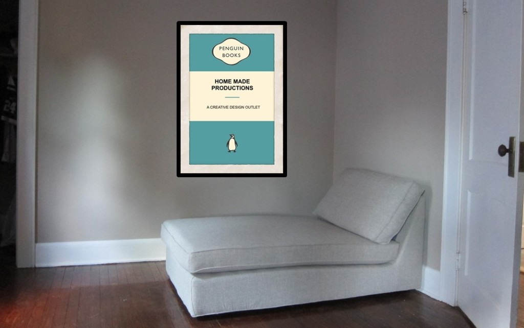 Penguin cover poster in room with chaise longue
