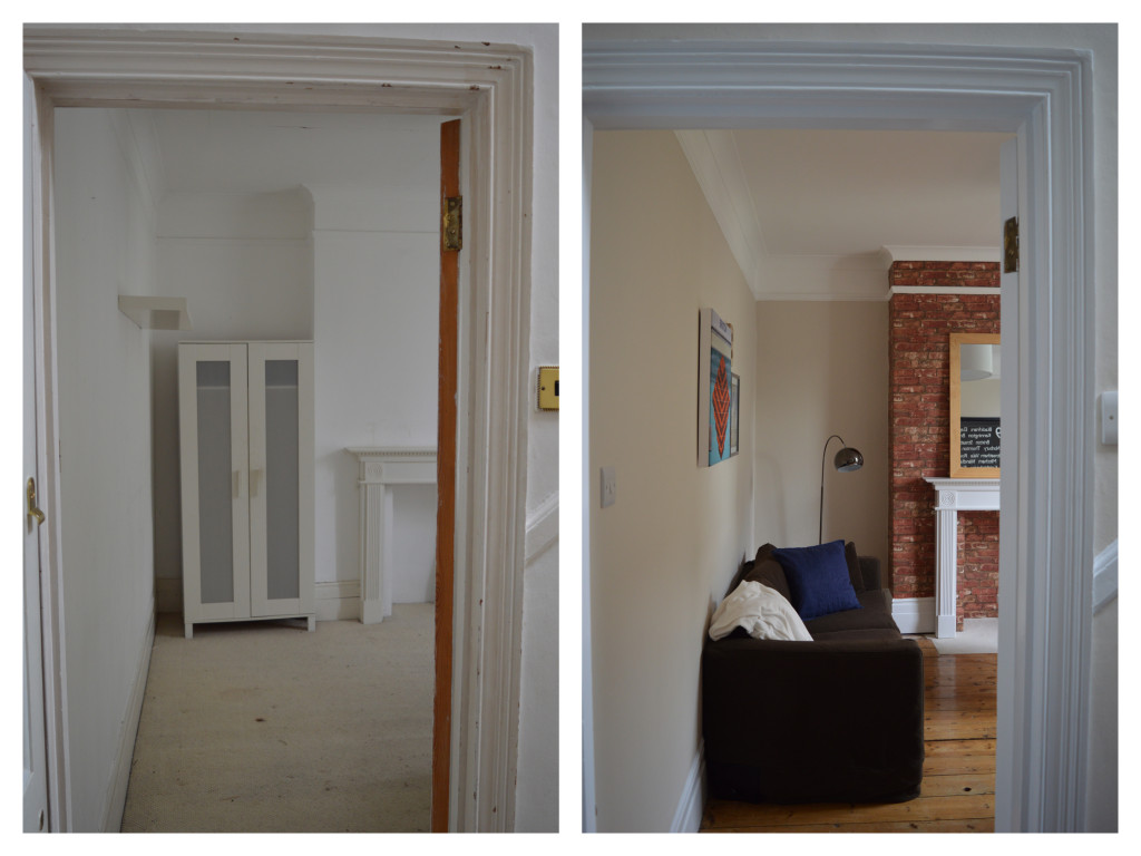 Before After Brixton London flat sitting room