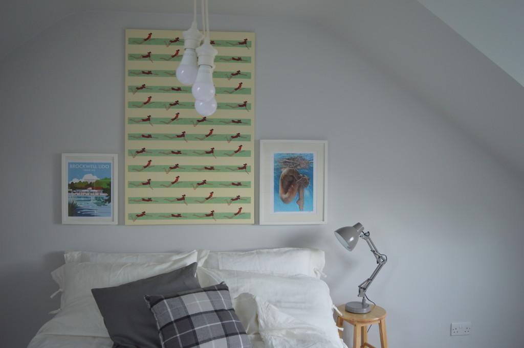 bed art hanging lights