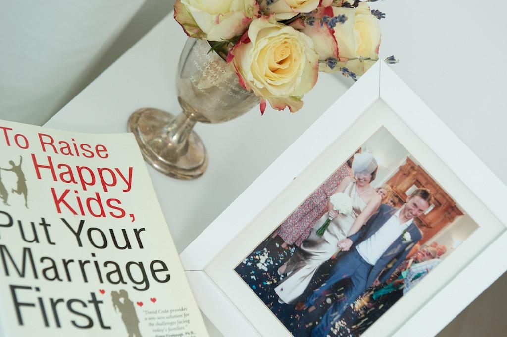 wedding photo bedside table