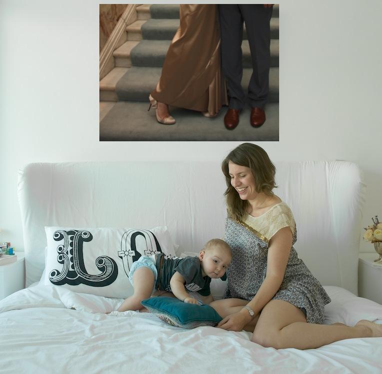 wedding photo above bed visual