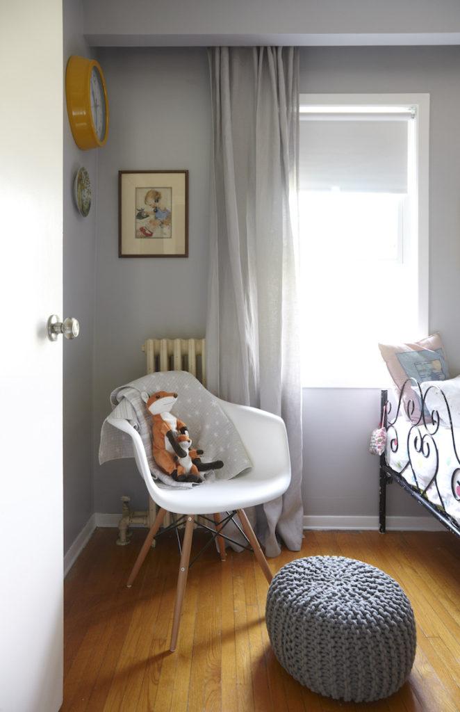 girls shared grey woodland bedroom