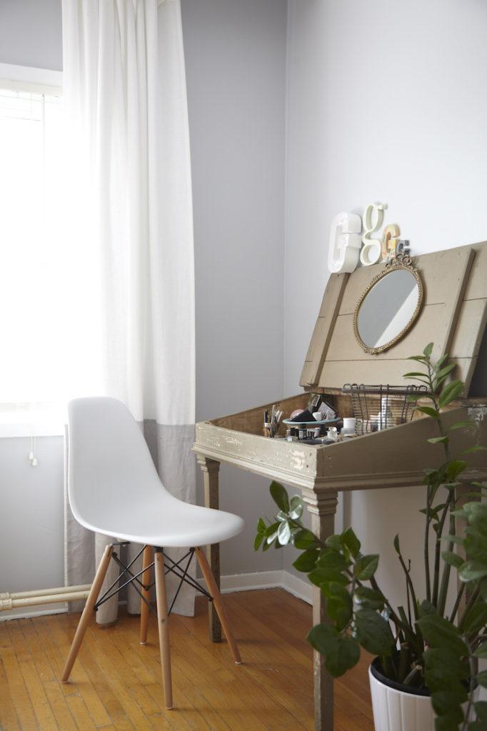 grey bedroom eames chair
