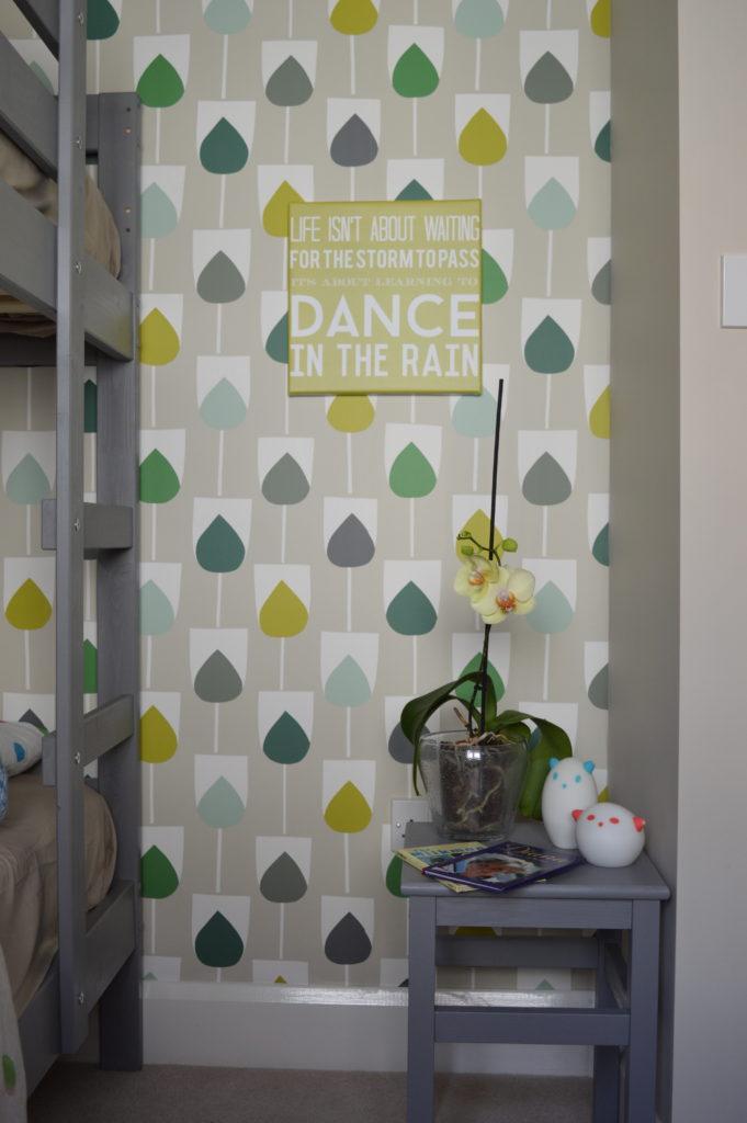 Scion Sula Wallpaper in Juniper & Kiwi rain art