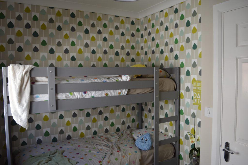 Scion Sula Wallpaper in Juniper & Kiwi IKEA MYDAL bunk bed hack