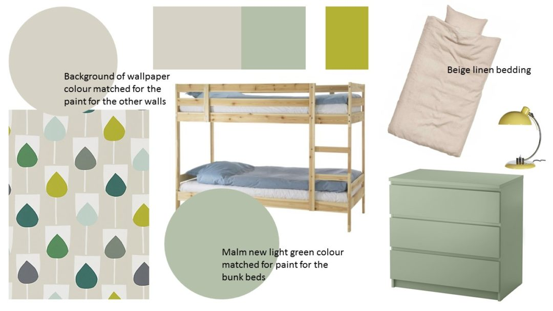 beige and green shared bedroom
