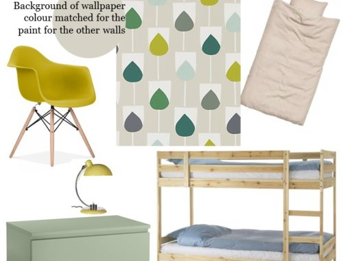 il pleut styleboard scion sula juniper, kiwi and hemp wallpaper green shared bedroom