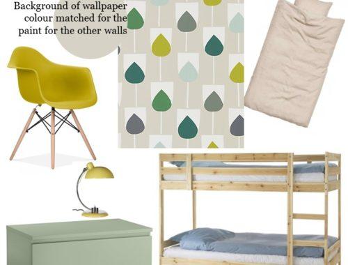 il pleut styleboard scion sula juniper, kiwi and hemp wallpaper green shared bedroom