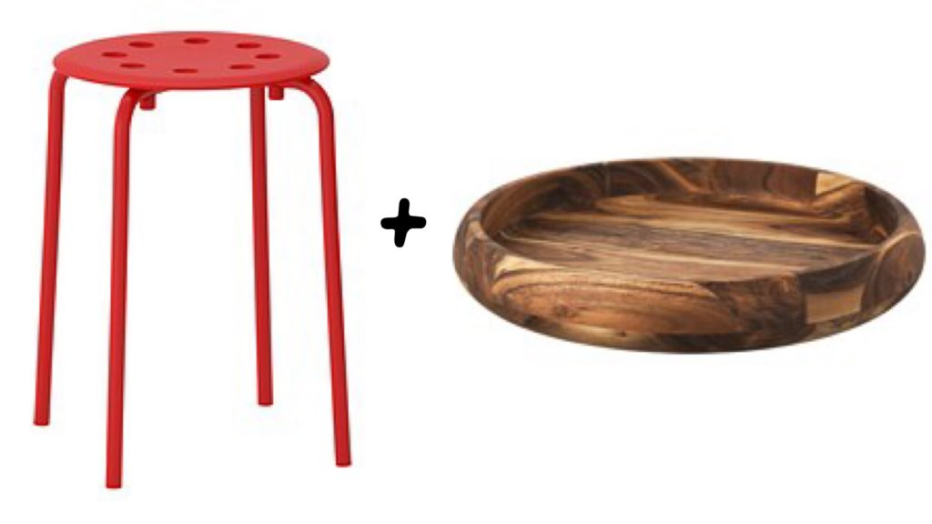 Ikea MARIUS stool SAKLIG bowl hack side table