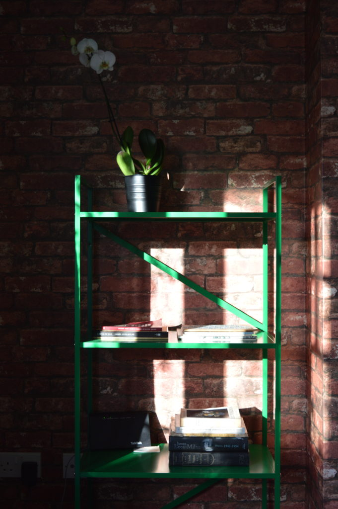 Brick wallpaper IKEA DRAGET green shelving unit