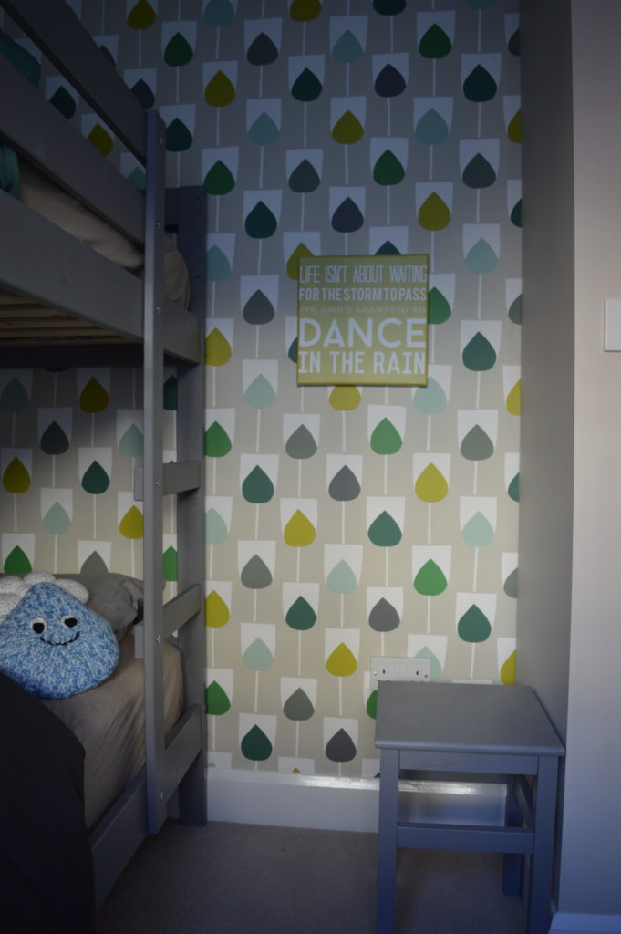 After green bedroom Scion Sula Wallpaper in Juniper & Kiwi IKEA MYDAL bunk bed hack