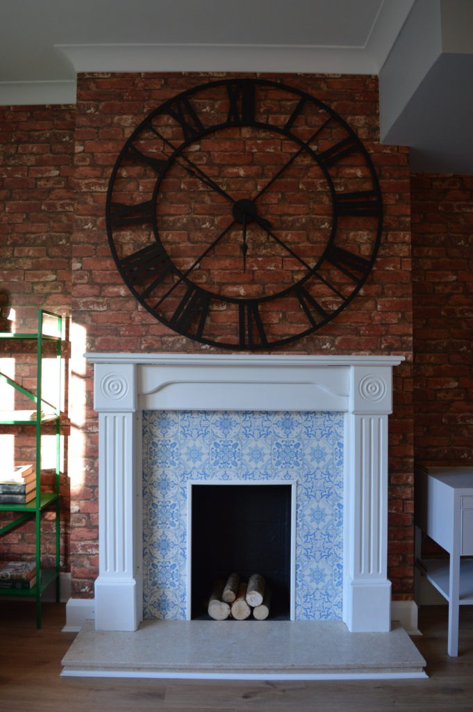 After fireplace brick tile wallpaper