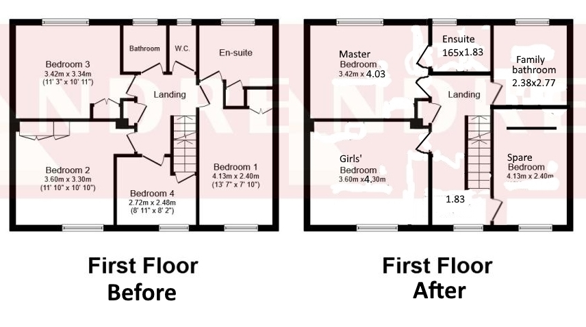 Before and after floorplan first floor