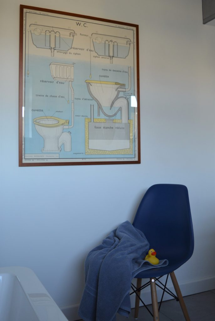 Vintage french school poster toilet WC Eames chair