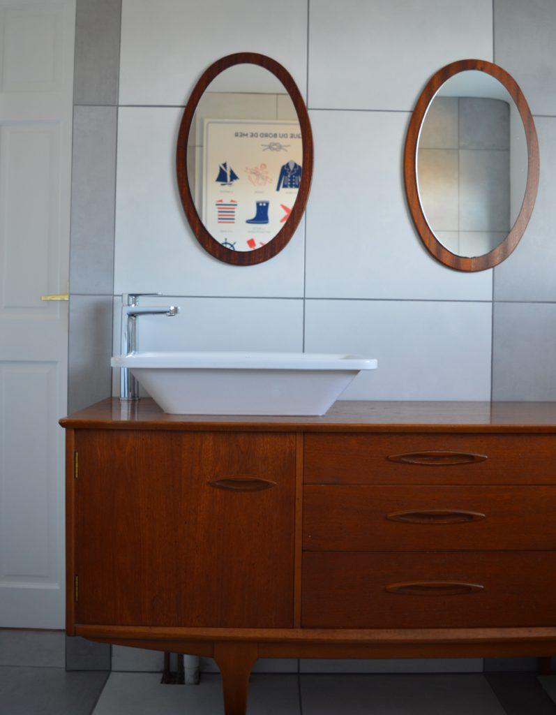 Teak sideaboard vanity bathroom