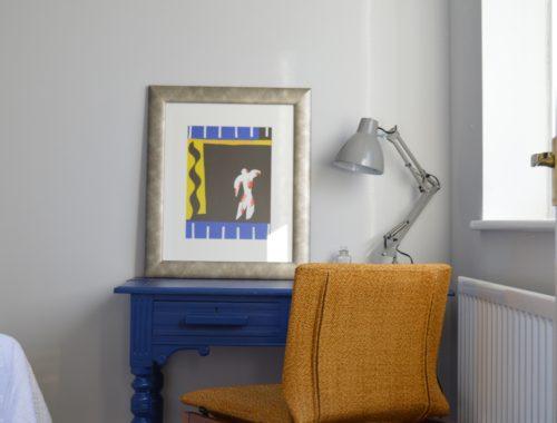 Spare bedroom Dulux Sapphire Salute desk mid century chair