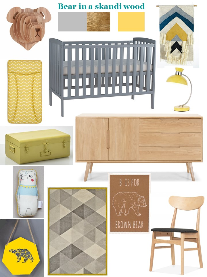 Bear in a skandi wood nursery styleboard grey oak yellow white