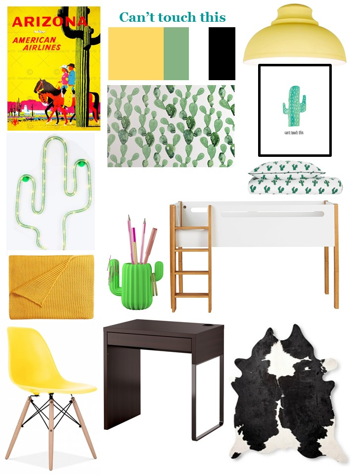 Cactus wildwest kids bedroom styleboard