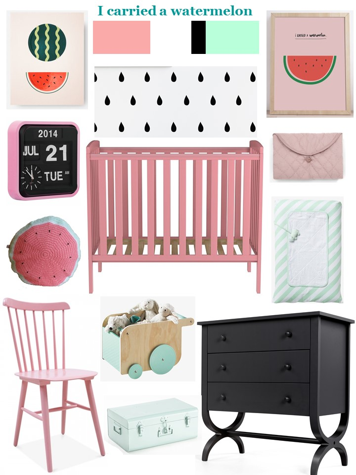 I carried a watermelon nursery style board pink mint black