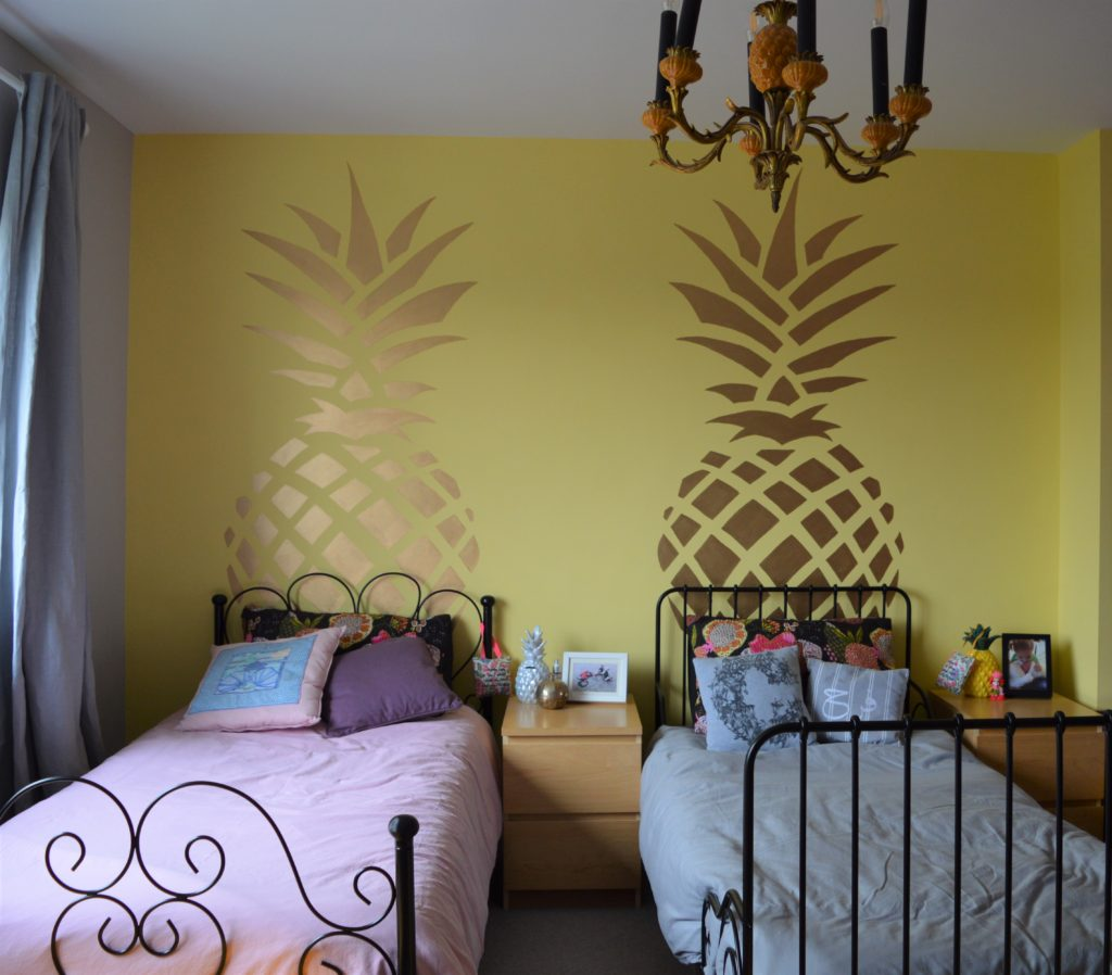 Shared kids bedroom girls pineapple
