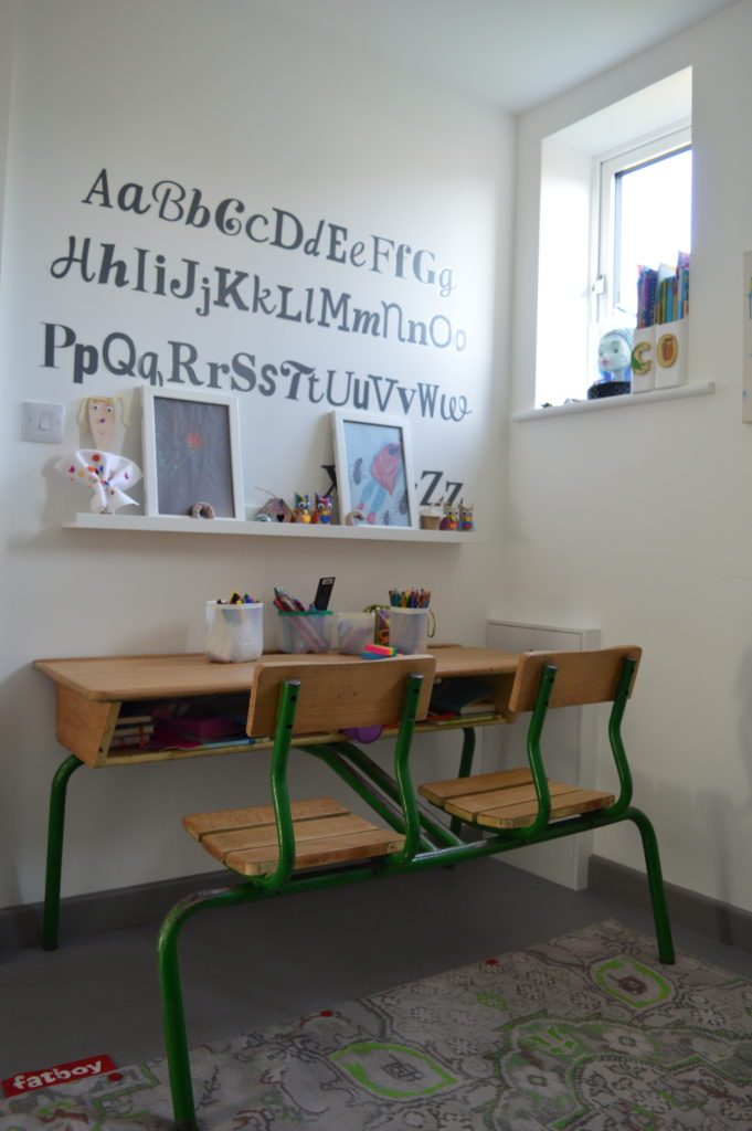 Playroom French school double desk Ikea KLÄTTA ABC wall stickers