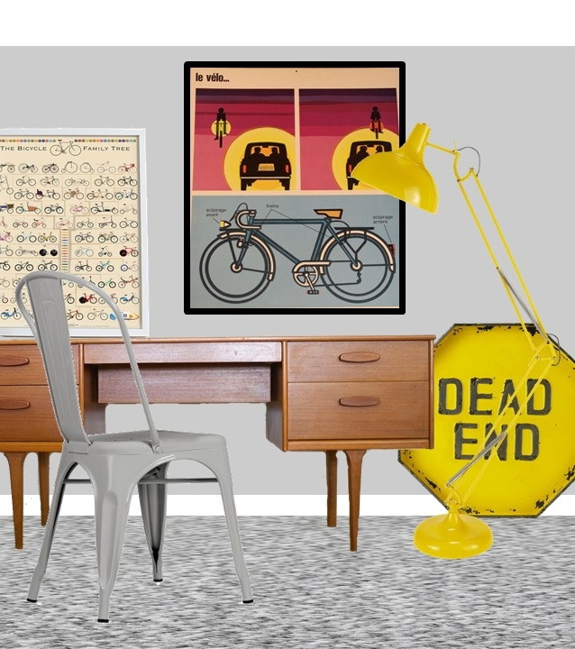 Bicycle grey yellow bedroom