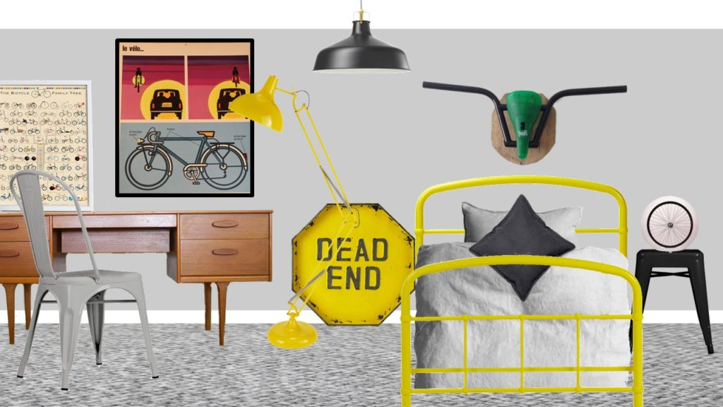 Bicycle grey yellow bedroom styleboard