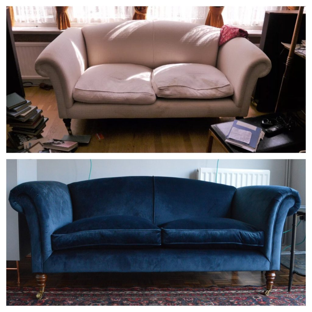 Before and after Blue velvet sofa
