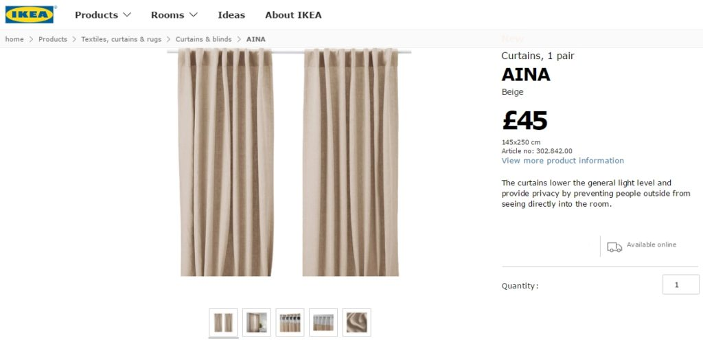 Ikea AINA Linen curtains