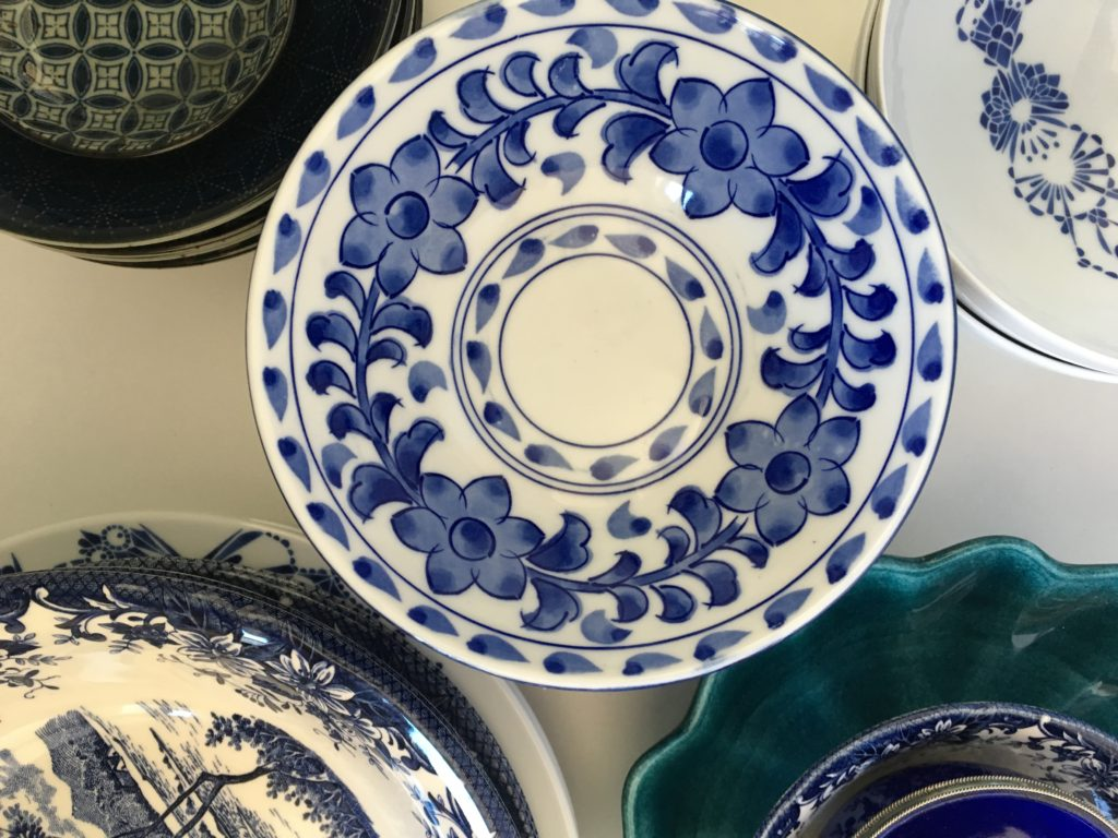 Mixed blue china
