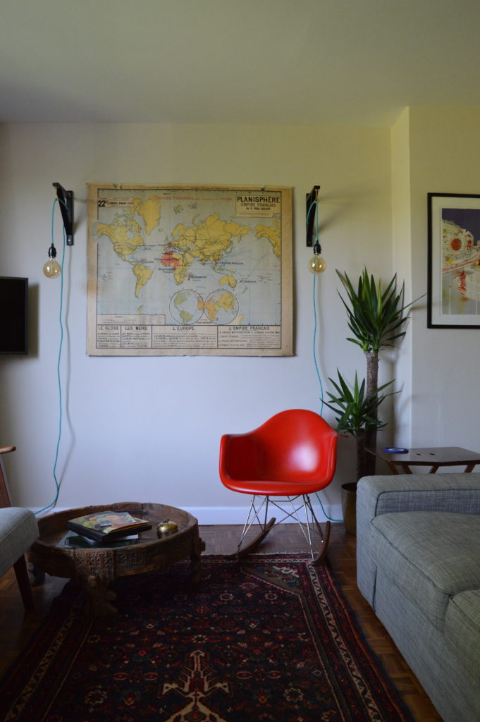 Sitting room antique French map eames chair Ikea ekby valter hack