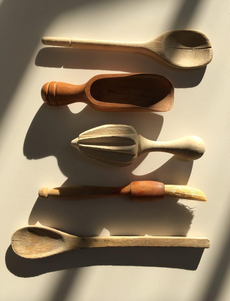 Still life kitchen wood utensils
