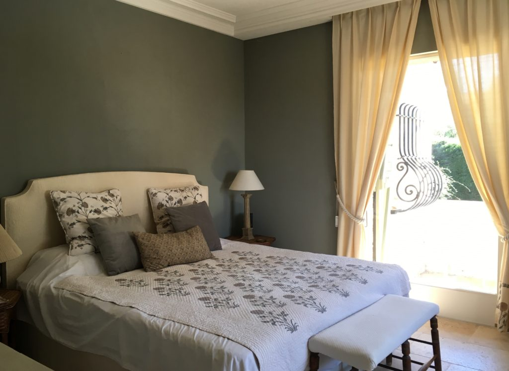 French house master bedroom Farrow & Ball Pigeon