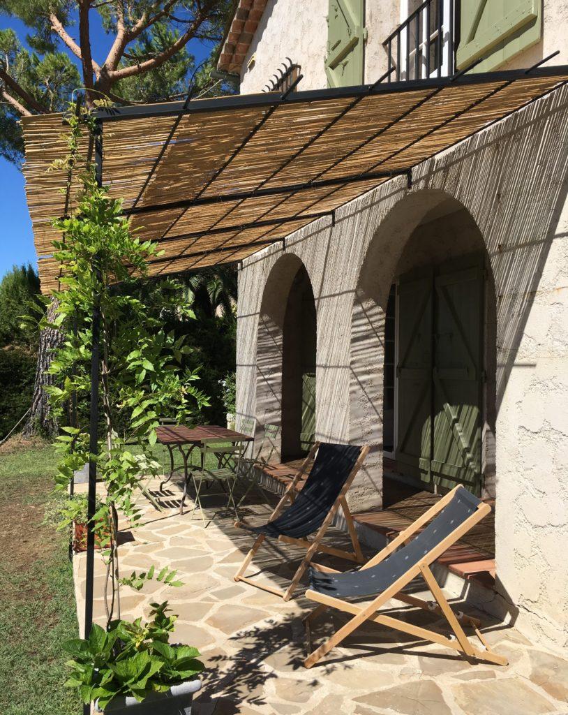 French house terrace Farrow & Ball Olive
