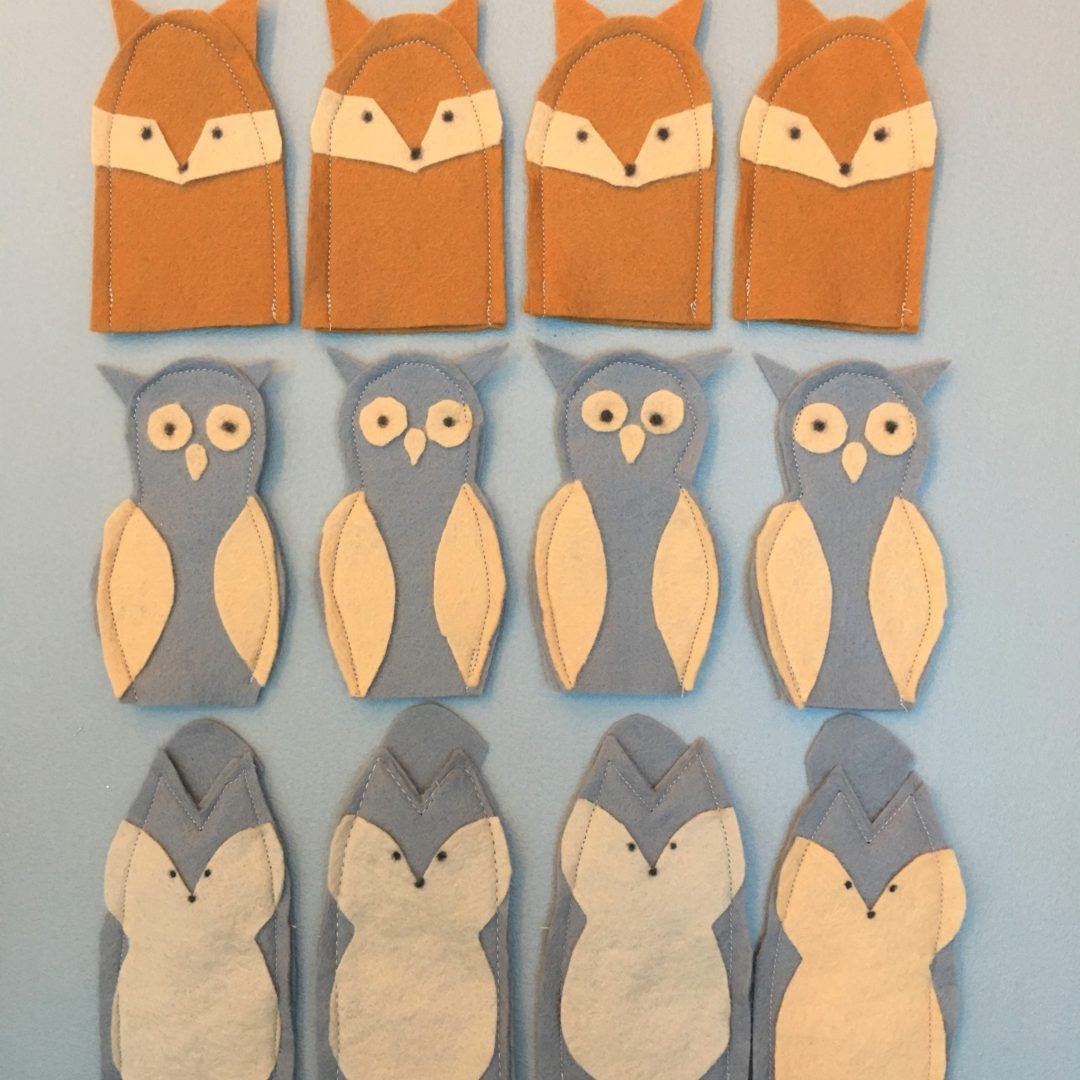 Easy woodland felt animal finger puppets