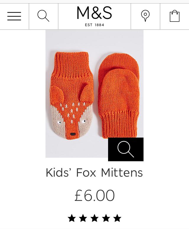 M&S Kids' Fox Mittens