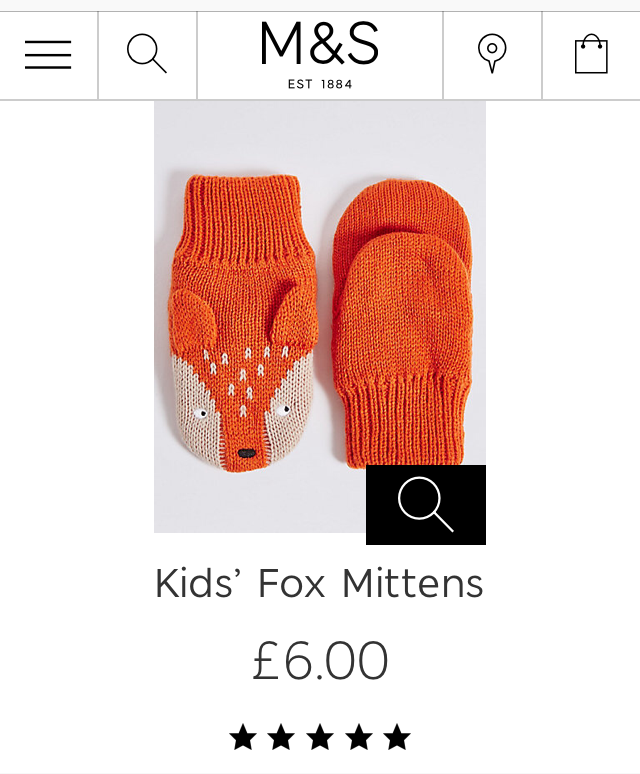 M&S Kids' Fox Mittens