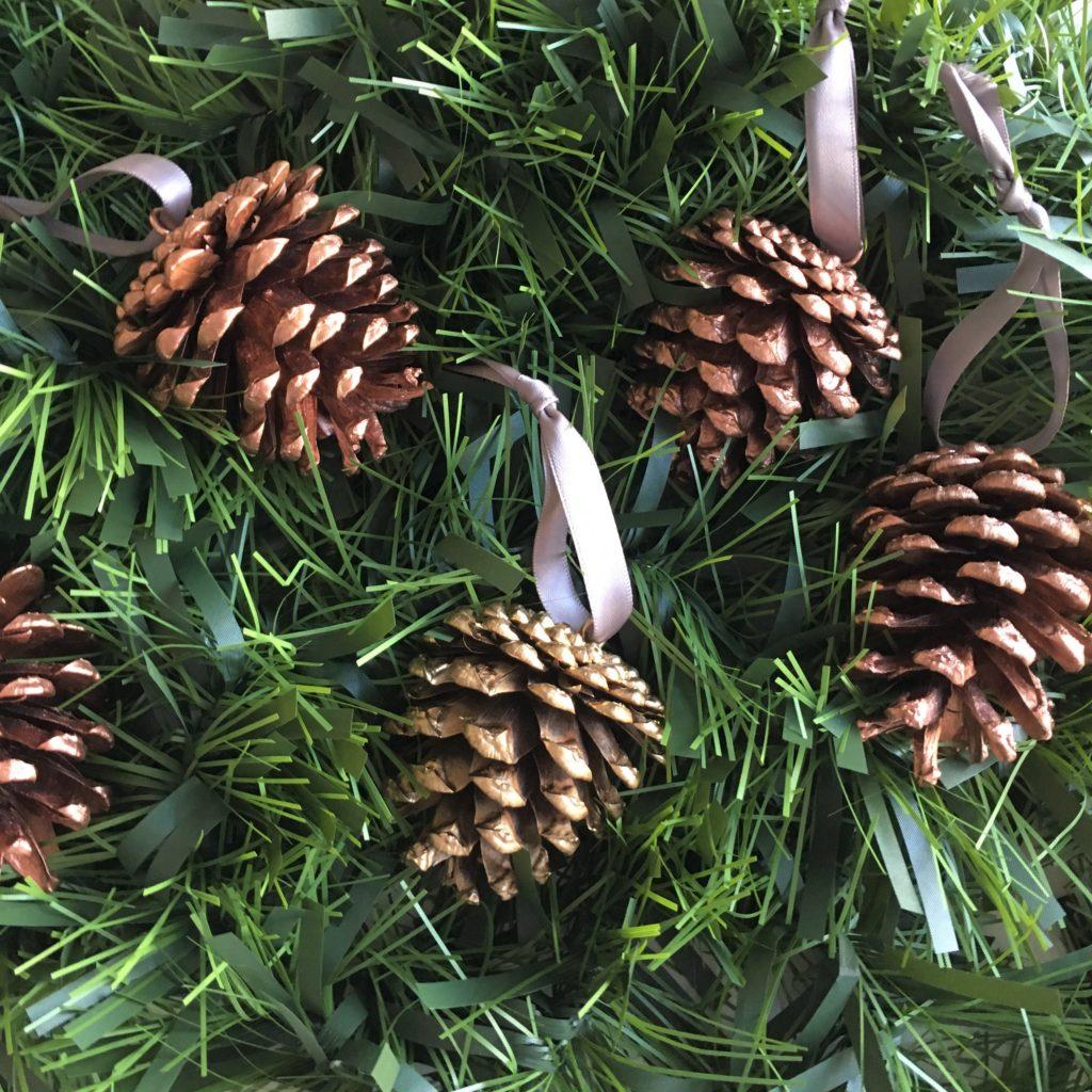 Gold copper pinecones