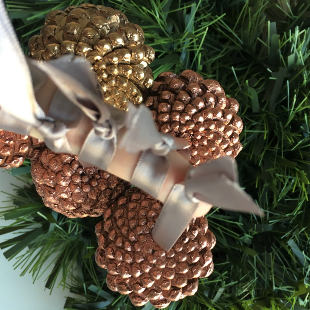 Gold copper pinecones
