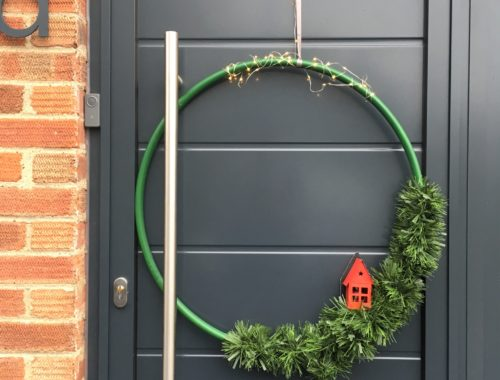DIY oversized Christmas wreath hula hoop