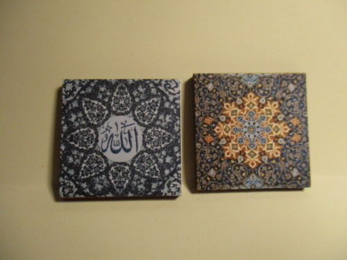 2 DOLLS HOUSE MINIATURE ISLAMIC ART PICTURES