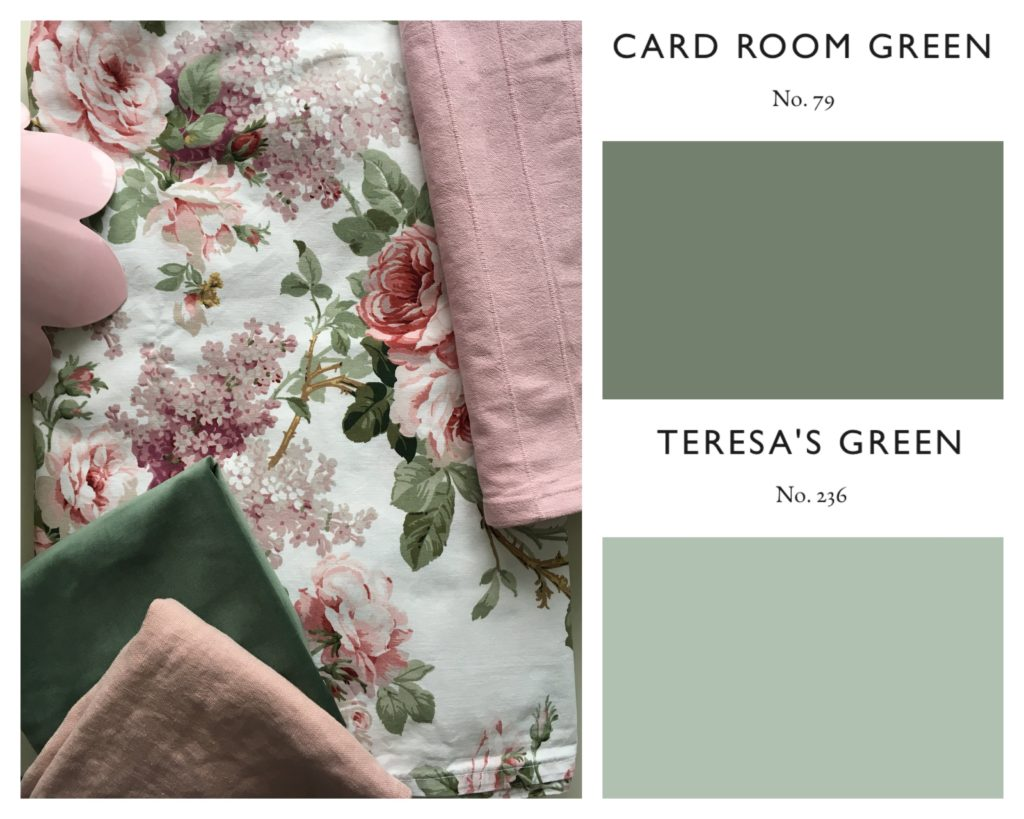 Pink and green bedroom styleboard
